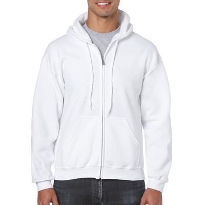 Gildan Heavy Blend Adult Full Zip Hooded Sweatshirt White   (18600_WHITE_GILD)