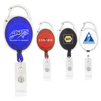Retractable Badge Holder with Carabiner Clip - Includes Decoration K306_PB
