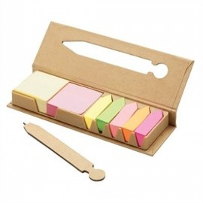 DESK38 Eco Post-It Notes Box With Recycled Paper Pen In The Cover (DESK38_OC)