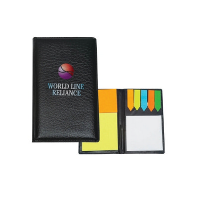 DESK53 Leather Look Padfolio With Sticky Notes & Flags - (printed with 1 colour(s)) DESK53_OC