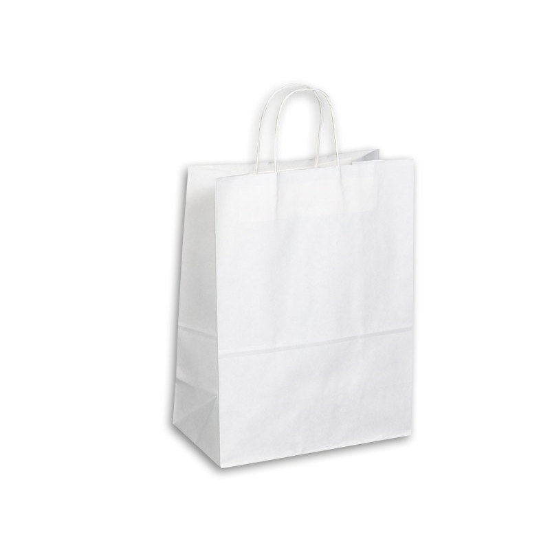 PAPB01KWL Kraft Paper Bag White Large Includes Twisted Paper Handle (PAPB01KWL_OC)