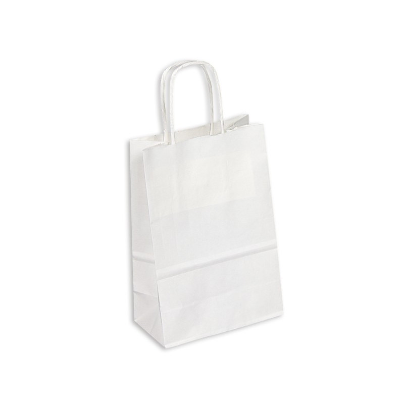 PAPB01KWS Kraft Paper Bag White Small Includes Twisted Paper Handle (PAPB01KWS_OC)