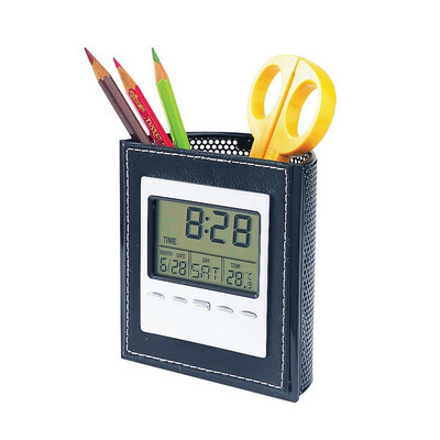 PEHB01 Lcd Clock With Pen Holder (PEHB01_OC)