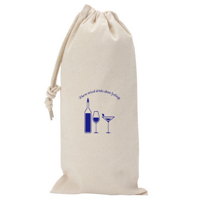 295ml Canvas Drawstring Wine Gift Bag - Includes Decoration OCBMS158_OC