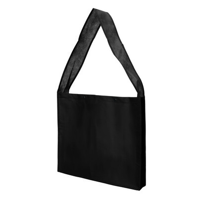 Non Woven Sling Bag - w/press studs and gusset (NWB20-BK_GLOBAL)