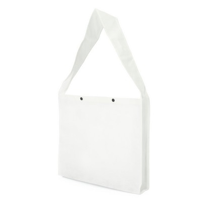 Non Woven Sling Bag - w/press studs and gusset (NWB20-WH_GLOBAL)