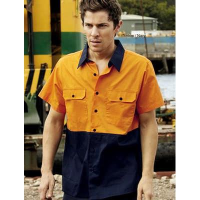 Unisex Adults Hi-Vis Cotton Twill Shirt S/S (SS1012_BOC)