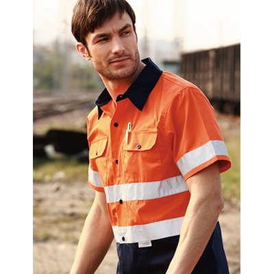 Unisex Adults Hi-Vis S/S Cotton Drill Shirt With Reflective Tape (SS1231_BOC)