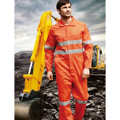Unisex Adults Hi-Vis Cotton Drill Overalls With X Pattern Reflective Tape (WO0683_BOC)