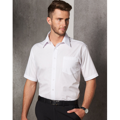 Mens Poplin Short Sleeve Business Shirt (BS01S_WIN)