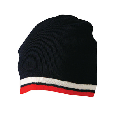 Knitted Contrast Stripes Beanie (CH63_WIN)