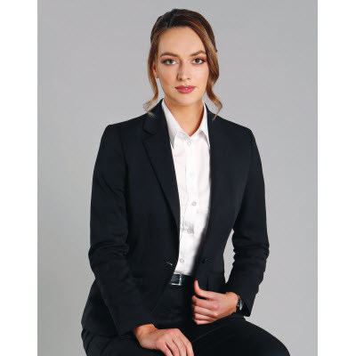Ladies Wool Blend Stretch One Button Cropped Jacket (M9201_WIN)