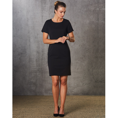 Ladies Poly/Viscose Stretch, Short Sleeve Dress (M9282_WIN)