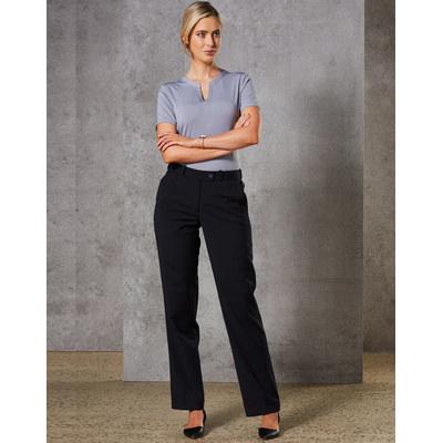 Women Wool Blend Stretch Slim Leg Flexi Waist Pants M9400_win