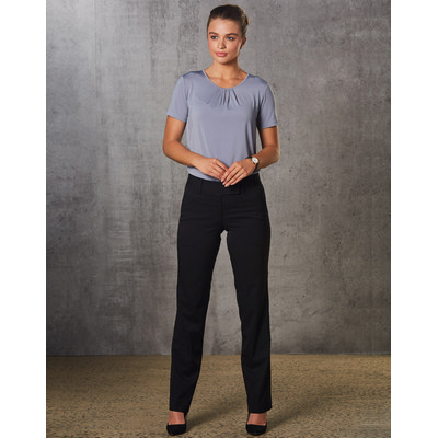 Women PolyViscose Stretch Low Rise Pants M9420_win