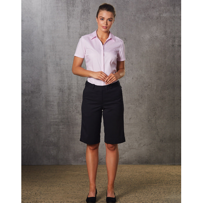 Ladies Poly/Viscose Stretch Knee Length Flexi Waist Shorts (M9441_WIN)