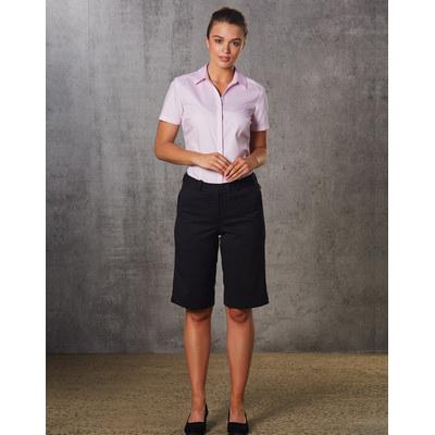 Ladies Poly/Viscose Stretch Knee Length Flexi Waist Shorts (M9441_WIN)