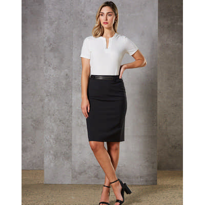 Women Wool Blend Stretch Mid Length Lined Pencil Skirt M9470_WIN
