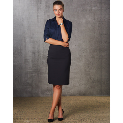 Ladies Poly/Viscose Stretch Mid Length Lined Pencil Skirt (M9471_WIN)