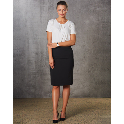 Ladies Poly/Viscose Stretch Stripe Mid Length Lined Pencil Skirt (M9472_WIN)