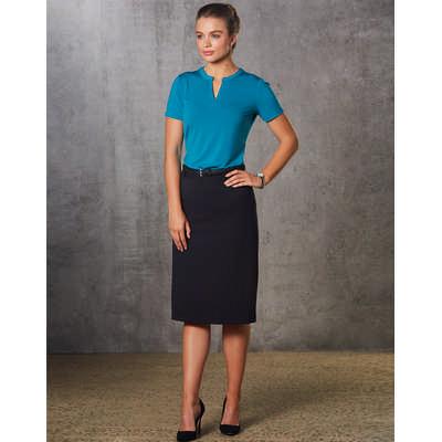 Women PolyViscose Stretch Twill Flexi Waist A-Line Utility Lined Skirt M9478_WIN