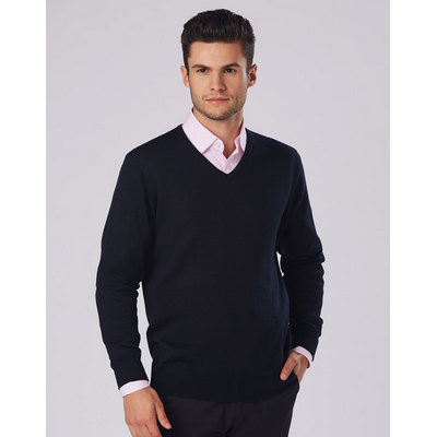 Mens V-Neck Long Sleeves Jumper (M9502_WIN)