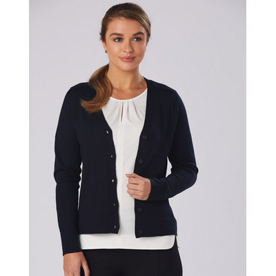 Ladies V-Neck Long Sleeves Cardigan (M9602_WIN)