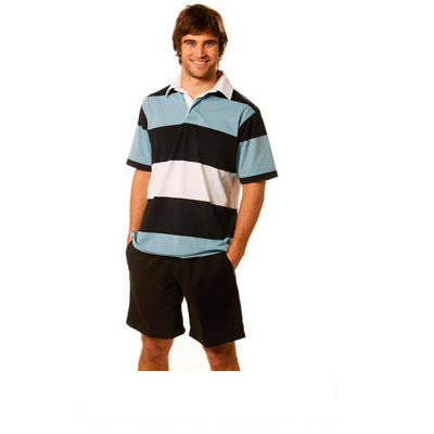 Mens Short Sleeve 3 Tone Rugby Top (RB05_WIN)