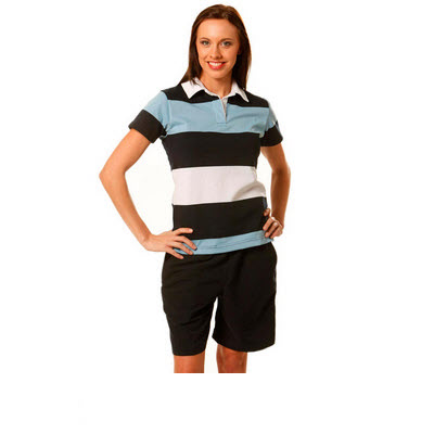 Ladies Short Sleeve 3 Tone Rugby Top (RB06_WIN)