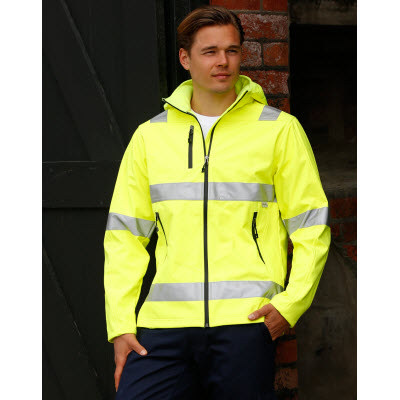 Adults HiVis Heavy Duty Softshell Jacket with 3M Tapes. (SW30_WIN)