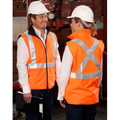 Hi-Vis Reversible Safety Vest With X Pattern 3M Reflective Tapes Shell Polyester Oxford 300 D w (SW37_win)