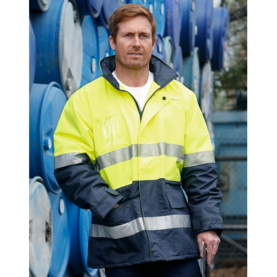 Hi-Vis Long Line Safety Jacket With Polar Fleece Lining and 3M Reflective Tapes (SW50_win)