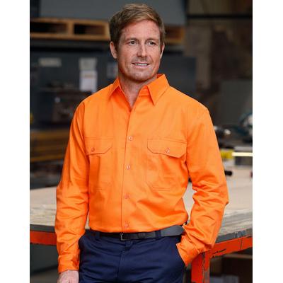 Mens High Visibility Regular Weight Long Sleeve Drill Shirt (SW51_win)