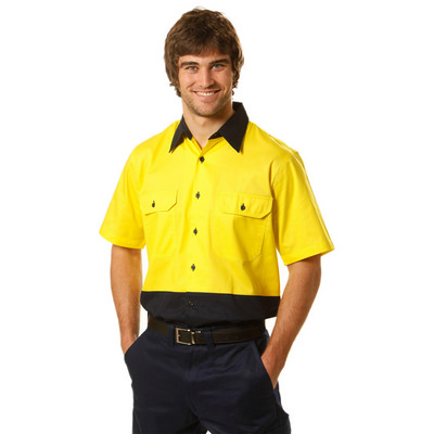 Mens High Visibility Cool-Breeze Cotton Twill Safety Shirt (SW57_WIN)