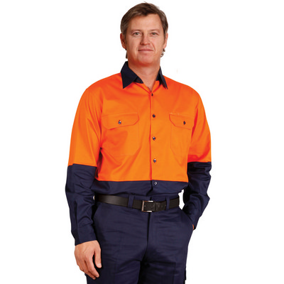 Mens High Visibility Cool-Breeze Cotton Twill Safety Shirt (SW58_WIN)