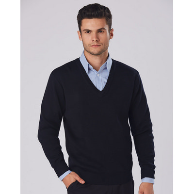 V-Neck Wool/Acrylic Knit Long Sleeves Jumper (WJ01_WIN)