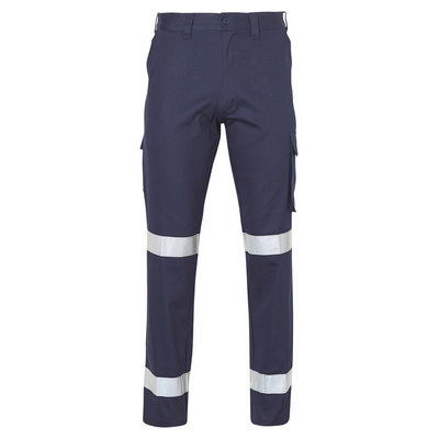 Mens Heavy Cotton Pre-Shrunk Drill Pants Longer Leg Size with 3M Scotchlite Reflective Tapes (WP13HV_WIN)
