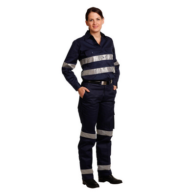Ladies Heavy Cotton Pre-Shrunk Drill Pants with 3M Reflective Tape (WP15HV_WIN)