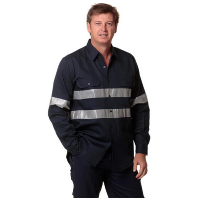 Cotton Drill Long Sleeve Work Shirt with 3M Tapes (WT04HV_win)