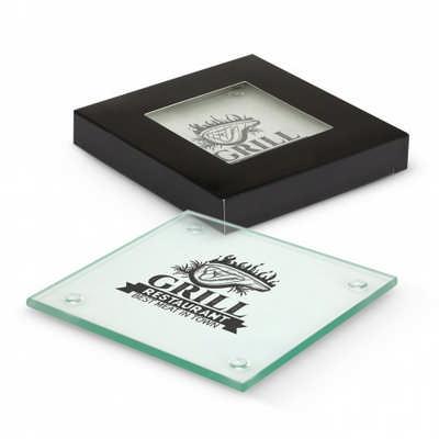 Venice Glass Coaster Set of 2 - Square - Includes Decoration 116394_TRDZ