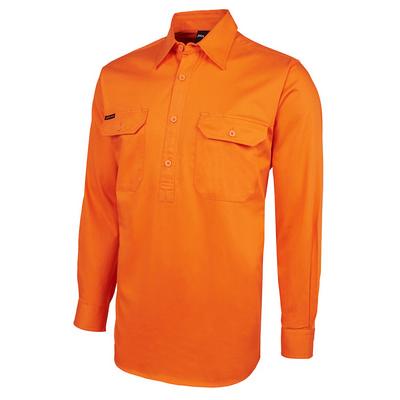 JBs Hi Vis L/S 190G Front Close Shirt (6HVCF_JBS)
