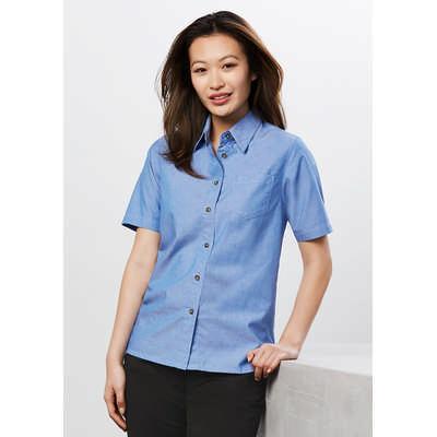 Ladies Wrinkle Free Chambray Short Sleeve Shirt LB6200_BIZ