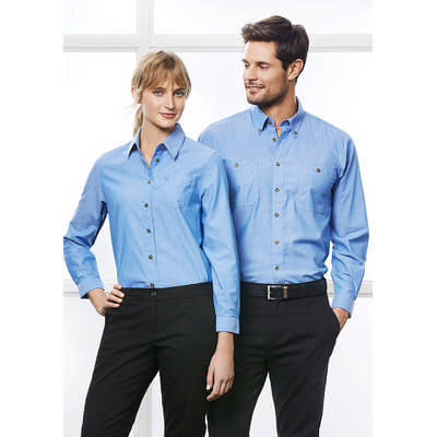 Ladies Wrinkle Free Chambray Long Sleeve Shirt LB6201_BIZ