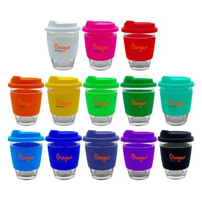 Carlo Glass Coffee Cup - Silicone Band EK012_DEX