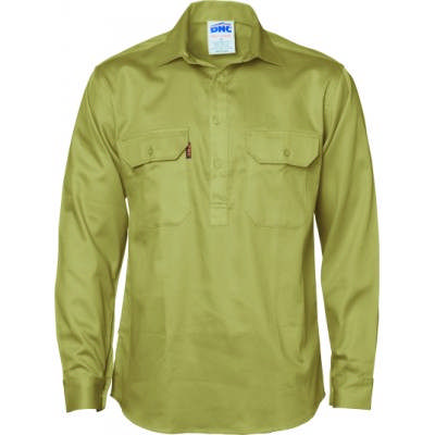 Closed Front Cotton Drill Shirt - LS 3204_DNC