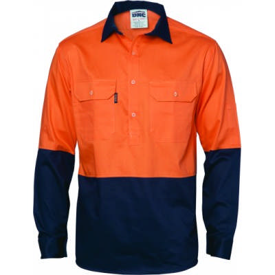 HiVis 2Tone Closed Front Ctn Drill Shirt-LS Gusset Sleeve 3834_DNC