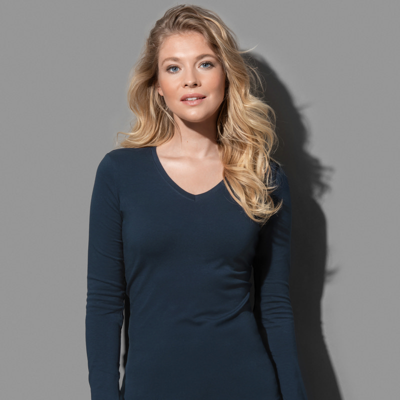 Womens Claire V-neck Long Sleeve ST9720_LEGEND