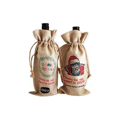 Faux Burlap Wine Bottle Drawstring Bag - (printed with 4 colour(s)) GPS077_EZI