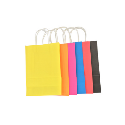 Junior Sized Coloured Kraft Bag With Paper Twist Handles Printed Popular Stock - (printed with 1 colour(s)) KBCCJUNFP_EZI