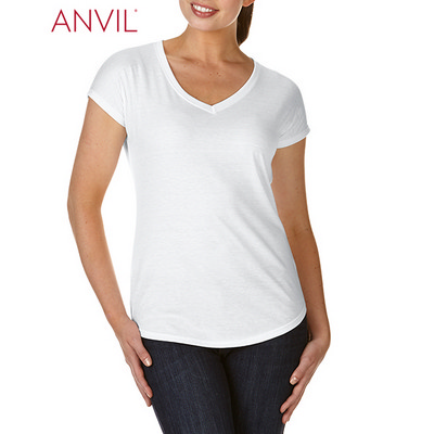 Anvil Women`s Tri-Blend V-Neck Tee White 6750VL_WHITE_GILD